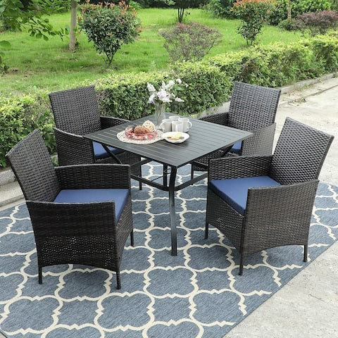 "PHI VILLA 5-Piece Patio Dining Sets Includes 37"" Square Metal Bistro Table with 1.57"" Umbrella Hole and 4 Rattan Garden Chairs"