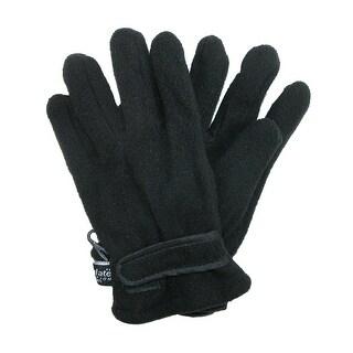 CTM® Kids' Polar Fleece Winter Glove with Hook and Loop Wrist - Black - One Size