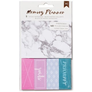 American Crafts Memory Planner Sticky Note Pack-Marble Crush; 5 Pads/40 Sheets Each