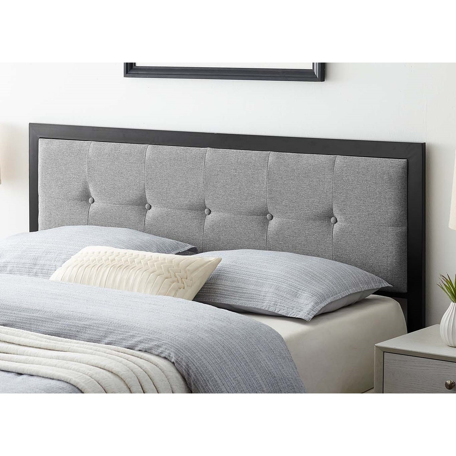 Waldorf Modern Light Grey Fabric Button Tufted Upholstered Full Size Metal Headboard On Sale Overstock 31717179