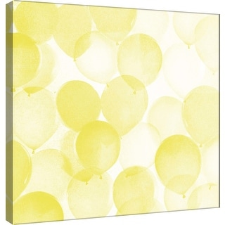 """PTM Images 9-101179  PTM Canvas Collection 12"""" x 12"""" - """"Airy Balloons in Yellow A"""" Giclee Celebrations Art Print on Canvas"""