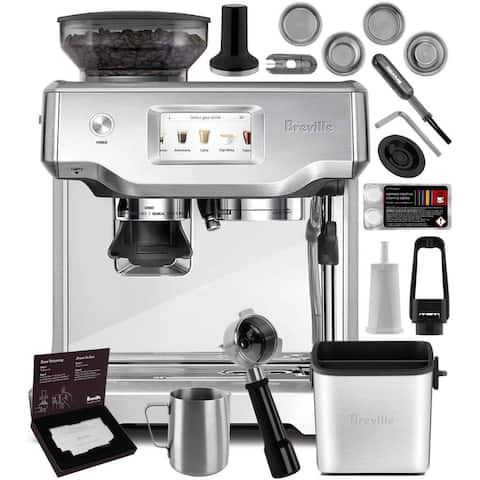 Breville BES880BSS Barista Touch Stainless Steel Espresso Machine w/ Touchscreen + Built-In Grinder + Knock Box Mini Bundle
