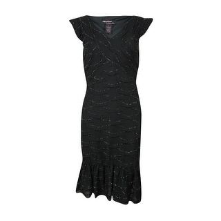 Signature Women's Cap Sleeve Ruffled Metallic Knit Dress