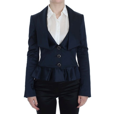 EXTE EXTE Blue Three Button Single Breasted Blazer Jacket