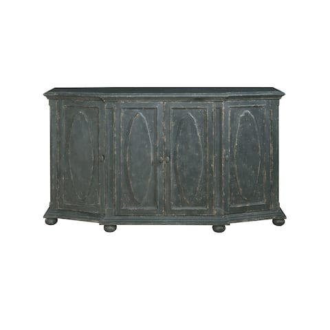 Distressed Charcoal Black 4-door Sideboard Wine Cabinet Console
