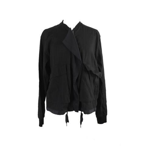 Pure Dkny Black Long-Sleeve Linen Blend Cascade Bomber Jacket M