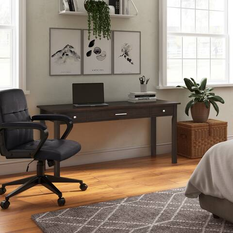 WYNDENHALL Franklin SOLID WOOD Contemporary 60 inch Wide Large Desk in Tobacco Brown
