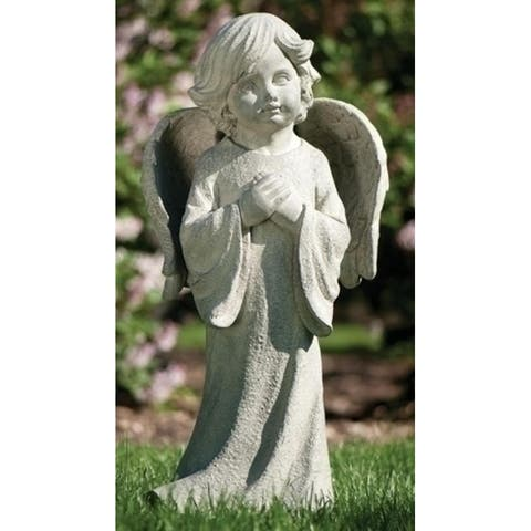 """26"""" Graceful Inspirational Praying Child with Angel Wings Outdoor Garden Statue - N/A"""