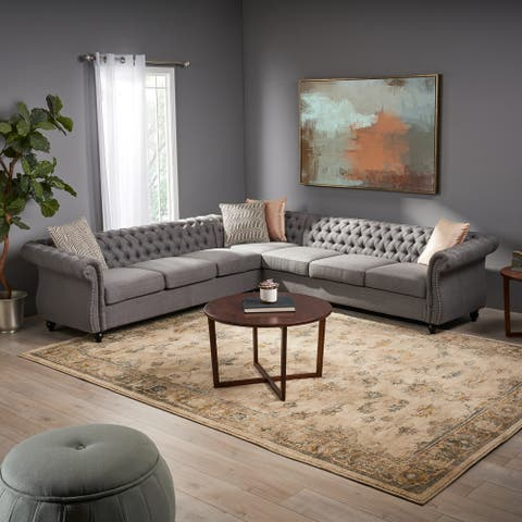 Amberside 7-seater Fabric Tufted Chesterfield Sectional by Christopher Knight Home