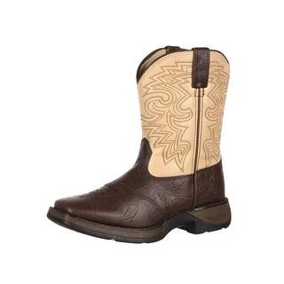 "Durango Western Boots Boys 8"" Saddle Square Toe Dark Brown Tan BT202"