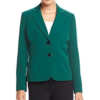 Kasper NEW Green Women's Size 16 Notch Collar Seamed 2-Button Blazer