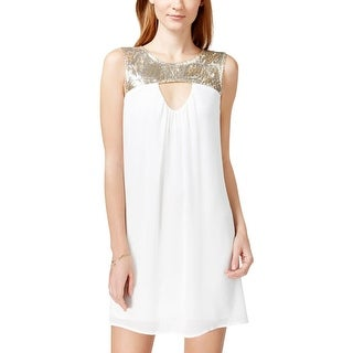 Sequin Hearts Womens Juniors Cocktail Dress Chiffon Sequined - 3