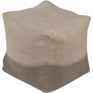 "18"" Beige and Charcoal Gray Two-Tone Print Square Wool Pouf Ottoman"