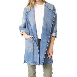 Current/Elliott Womens Asymmetrical Denim Jacket