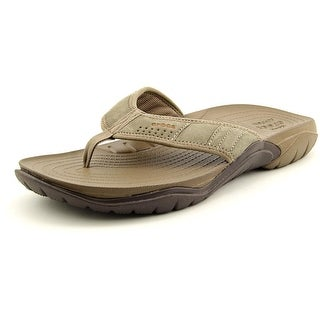 Crocs Swiftwater Flip Men  Open Toe Suede Brown Flip Flop Sandal