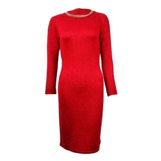 Calvin Klein Women's Chain Trim Neckline Sweater Dress