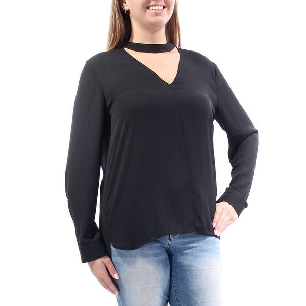 254fe7a036a92f STATE Womens Black Choker Long Sleeve V Neck Blouse Evening Top Size: L -  On Sale - Free Shipping On Orders Over $45 - Overstock - 21386076
