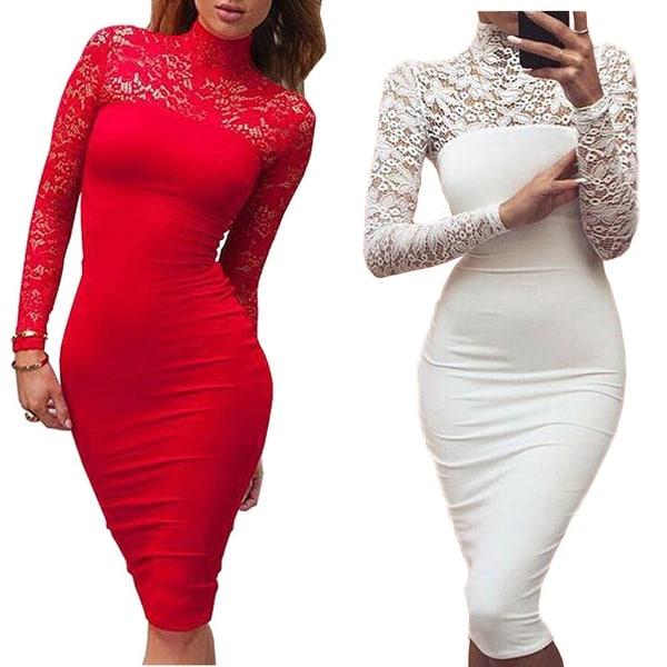 Turtleneck Long Sleeve Lace Midi Sexy Club Bandage Bodycon Dress Autumn White  Red Black Women Elastic f54b5c1d2