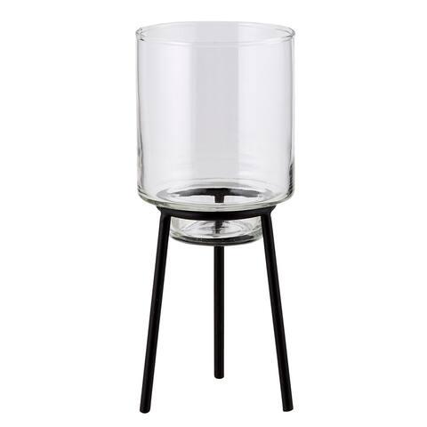 """10"""" Black Tabletop Candle Vase Holder"""
