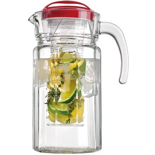 Palais Glassware Paneled Clear Glass Pitcher -Fruit Infusion Pitcher - Holds 64 Ounces
