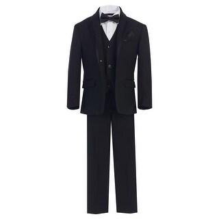 Boys Black Bow-Tie Vest 5 Pcs Wedding Special Occasion Tuxedo Suit