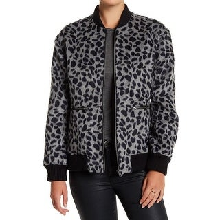Ro & De Black Womens Large Animal-Print Bomber Jacket