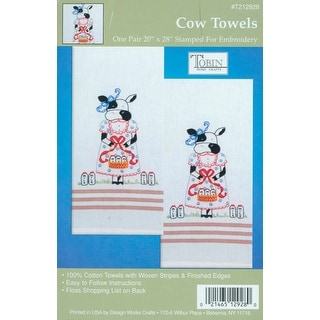 "Stamped Kitchen Towels For Embroidery 20""X28"" 2/Pkg-Cow"