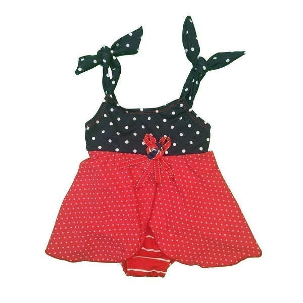 Baby Girls Red Striped Dotted Tie Rosette Accent One Piece Swimsuit - 18 months