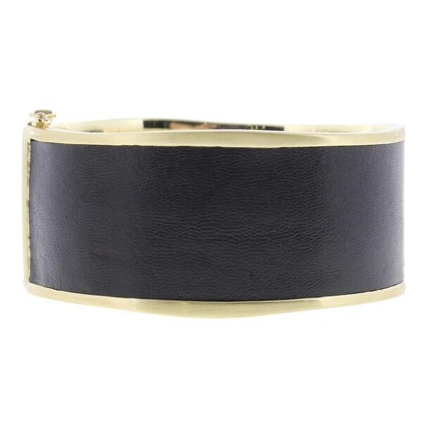 Karen Kane Womens Lorien Bangle Bracelet Leather Hinged Cuff - Black/gold