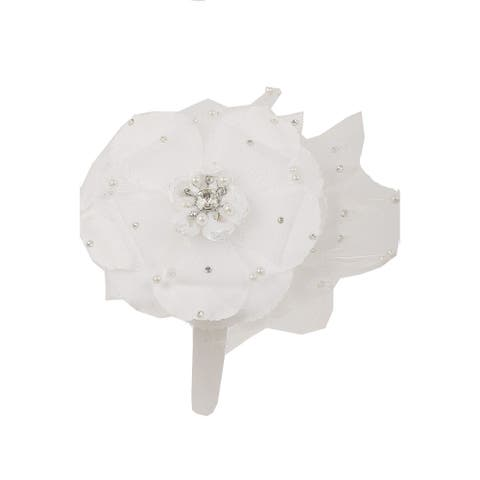 Kids Dream Girls Off-White Flower Rhinestone Pearl Feather Satin Headband - One Size