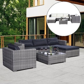 Wonderful Costway 6PC Furniture Set Patio Sofa PE Gray Rattan Couch 2 Set Cushion  Covers