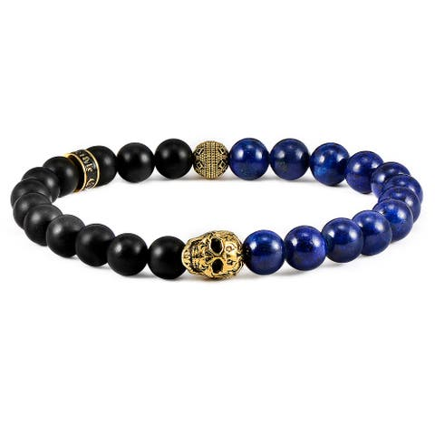 Matte Onyx and Natural Stone Gold Plated Skull Stretch Bracelet (8mm)