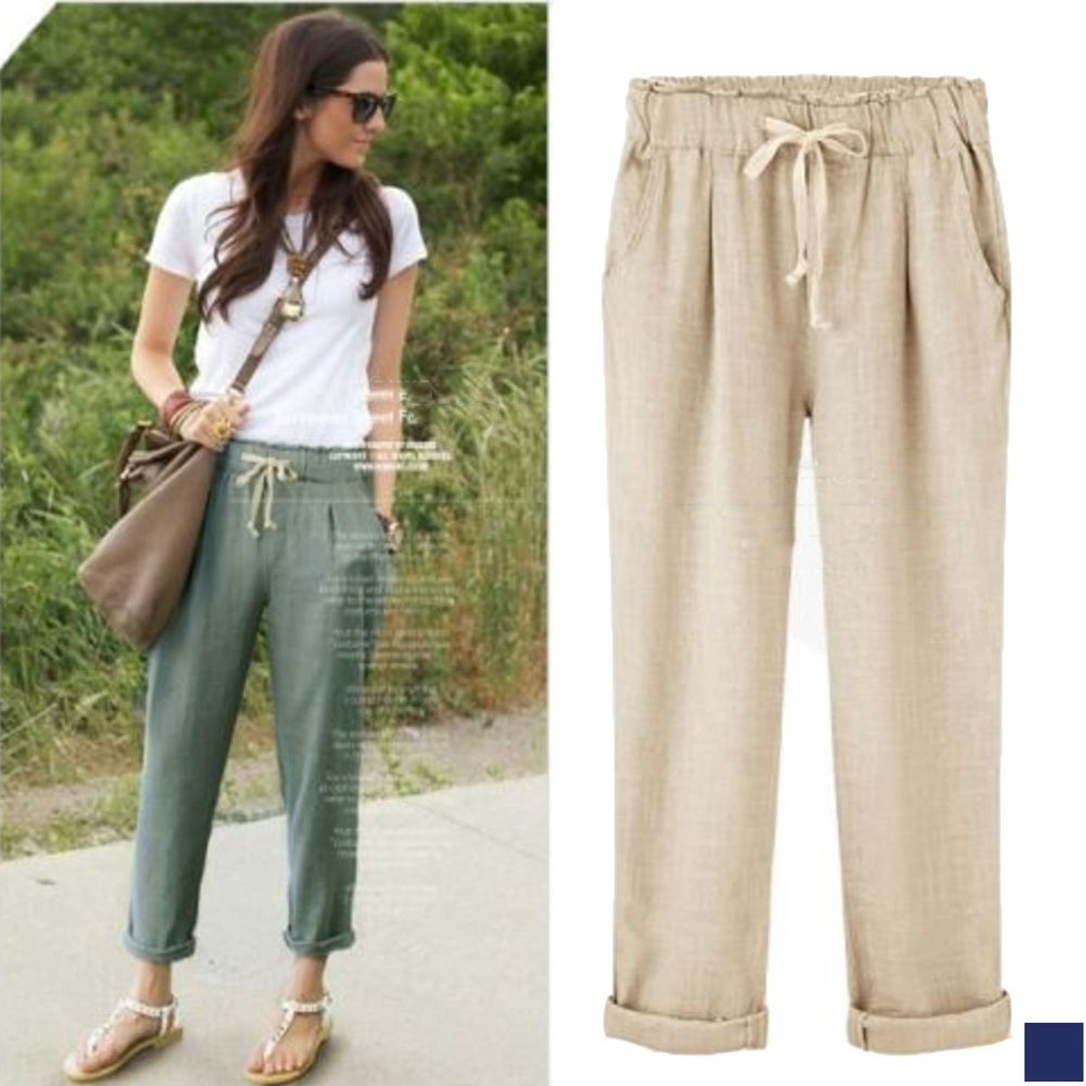 Cotton Rolled Cuff Drawstring Pant S-2X Multiple Colors by  Wonderful