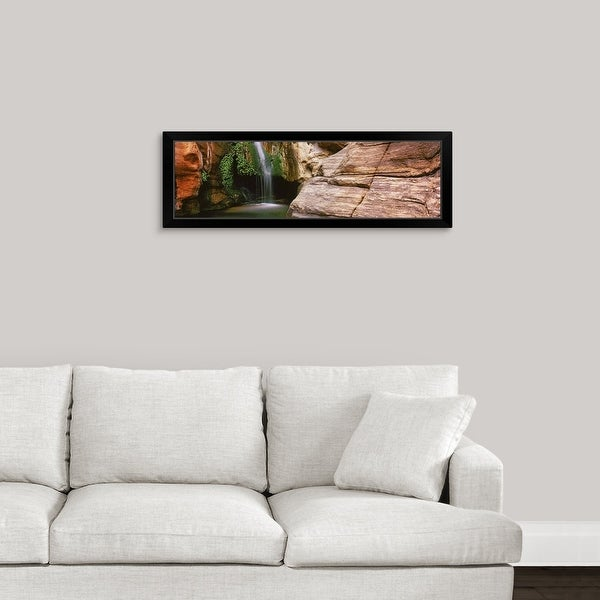 """Waterfall rushing through Redwall Cavern, Grand Canyon National Park, Arizona"" Black Framed Print"