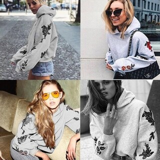 Women Long Sleeve Printed Hoodie Sweatshirt Sweater Hooded Coat Pullover Tops