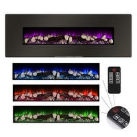 "Della 48"" Electric Wall Mount + Standing Fireplace Heater Recessed Realistic 4 Color Flame Log Set & Crystal"