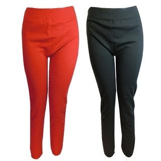 Women 6 Pack Plus Size Fleece LIned Soild Color Leggings