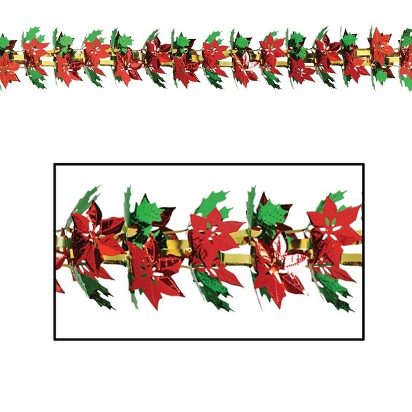 Pack of 12 Metallic Christmas Poinsettia and Holly Garland 9'