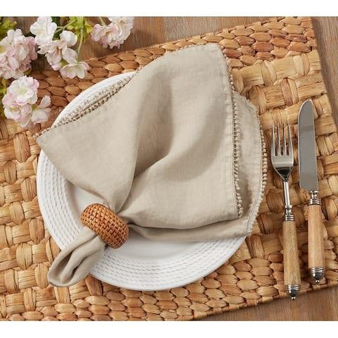 Pompom Design Table Napkins With 100% Linen (Set of 4)
