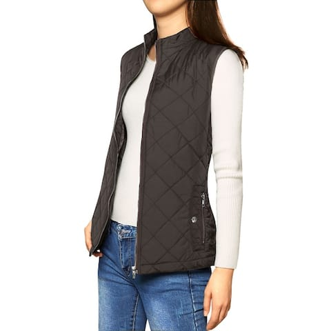 Woman Zip Up Front Stand Collar Slant Pockets Quilted Padded Vest