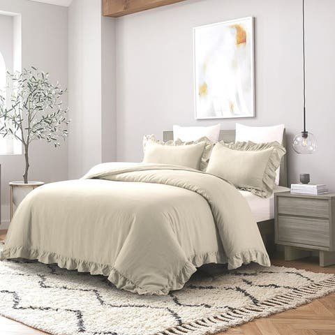 Wholelinens Linen Blend Duvet Cover Set-Stone Washed