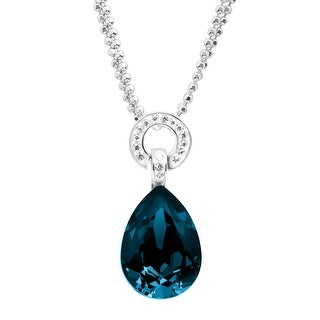 Crystaluxe Ring Drop Pendant with Swarovski Crystals in Sterling Silver - Blue