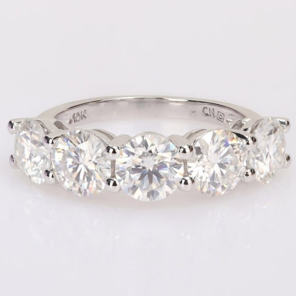 Miadora 4ct DEW Moissanite 5-Stone Semi-Eternity Band Ring in 10k White Gold. Opens flyout.
