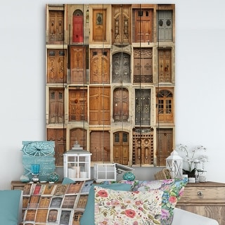 Link to Designart 'Art Nouveau Doors' Vintage Print on Natural Pine Wood - Multi-color Similar Items in Wood Wall Art