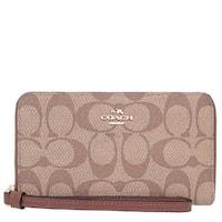 Coach Signature PVC Phone Wallet Wristlet F57468, Khaki/Saddle