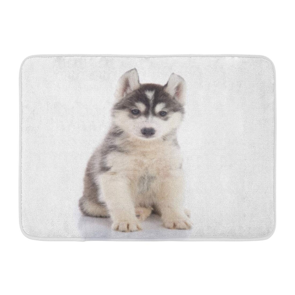 Brown Adorable Cute Siberian Husky Puppy Sitting On Baby Black Doormat Floor Rug Bath Mat 23 6x15 7 Inch Multi On Sale Overstock 31775669