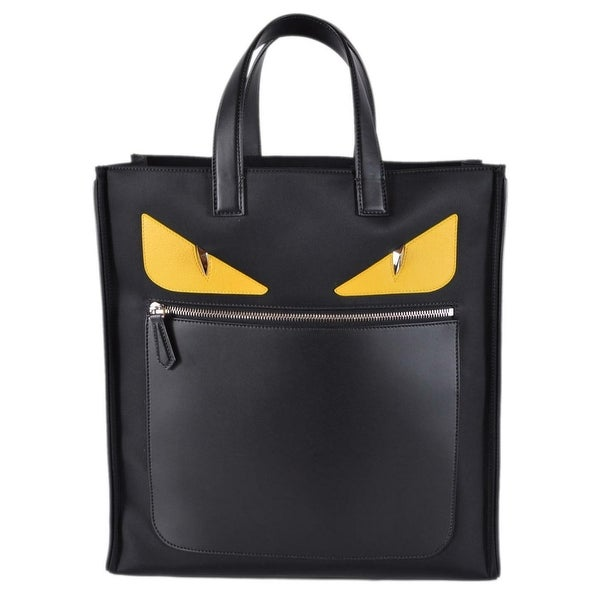 8886adb3247d Fendi Men  x27 s Black Nylon Leather MONSTER BUG Gold Eyes Large Tote Bag