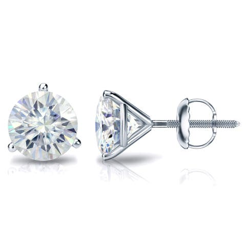 Auriya 1ctw Round Moissanite Stud Earrings 18k Gold Martini-set - 5 mm, Screw-Backs