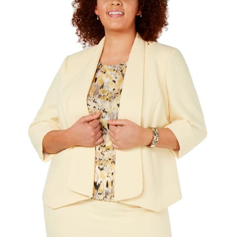 Kasper Women's Jacket Pastel Yellow Size 14W Plus Roll Sleeve Fly Away
