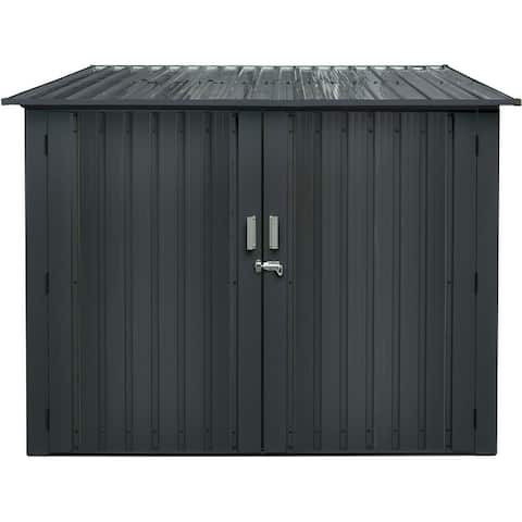 Galvanized Steel Bicycle Storage Shed with Twist Lock and Key for up to 4 Bikes, Dark Gray